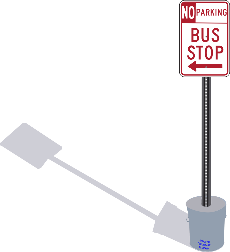 Bus Stop sign in cement pail with shadow