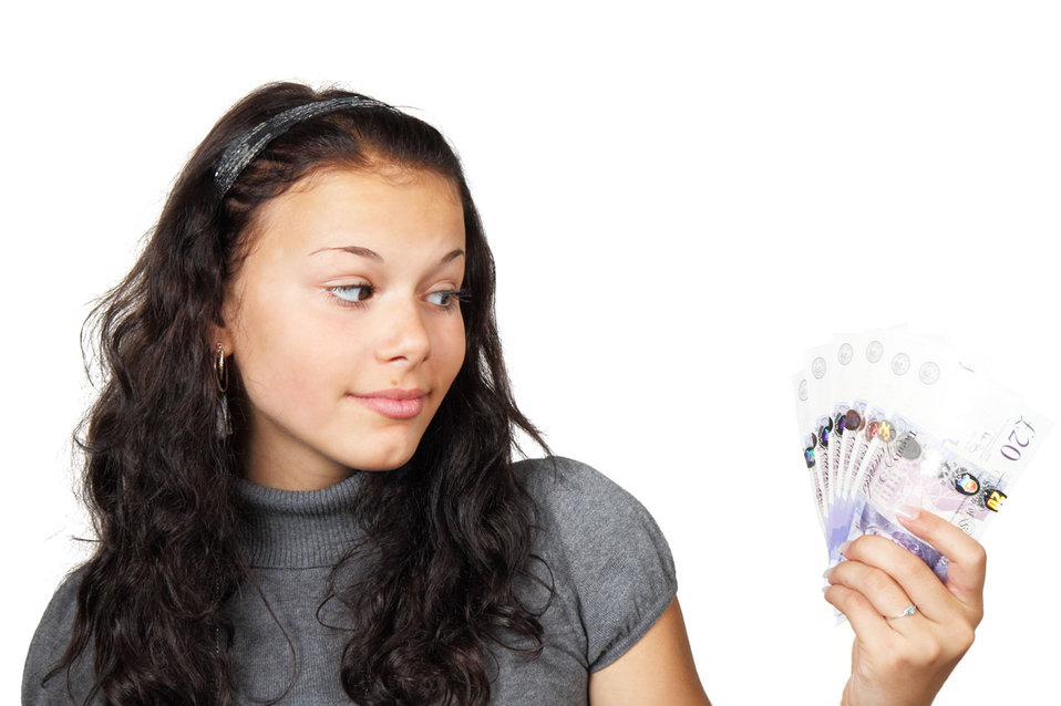 Teenager with money