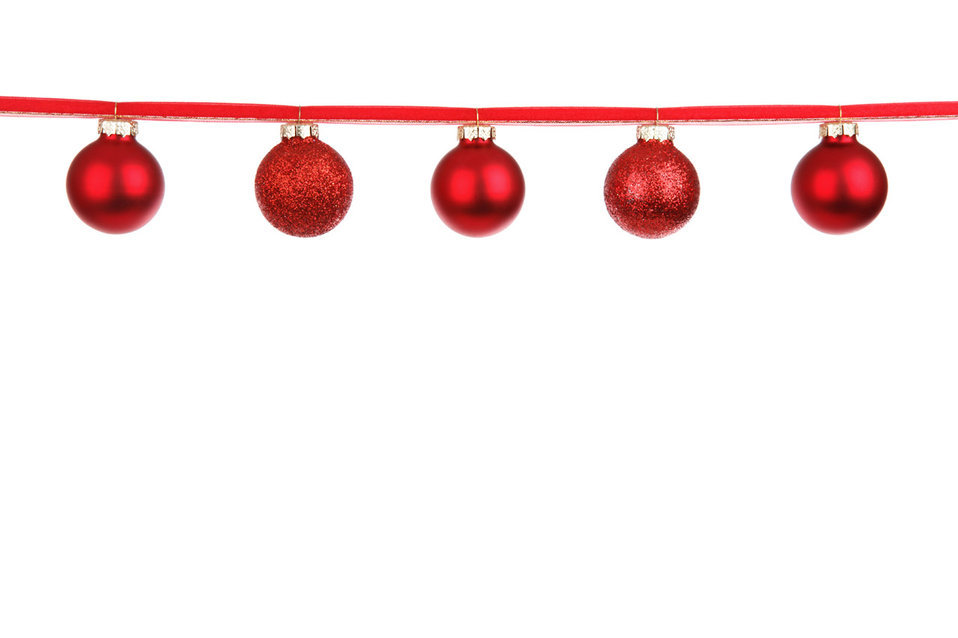 Red baubles on a ribbon
