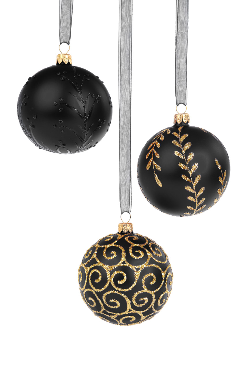 Black christmas baubles