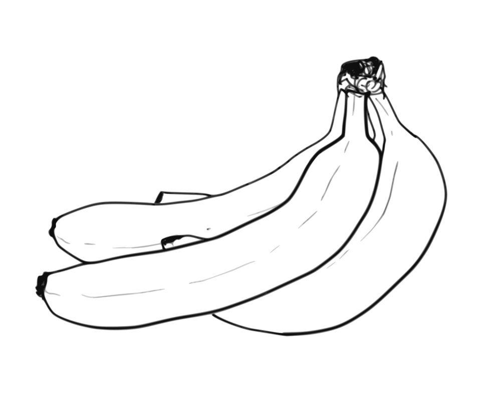 Banana Bunch Line Art