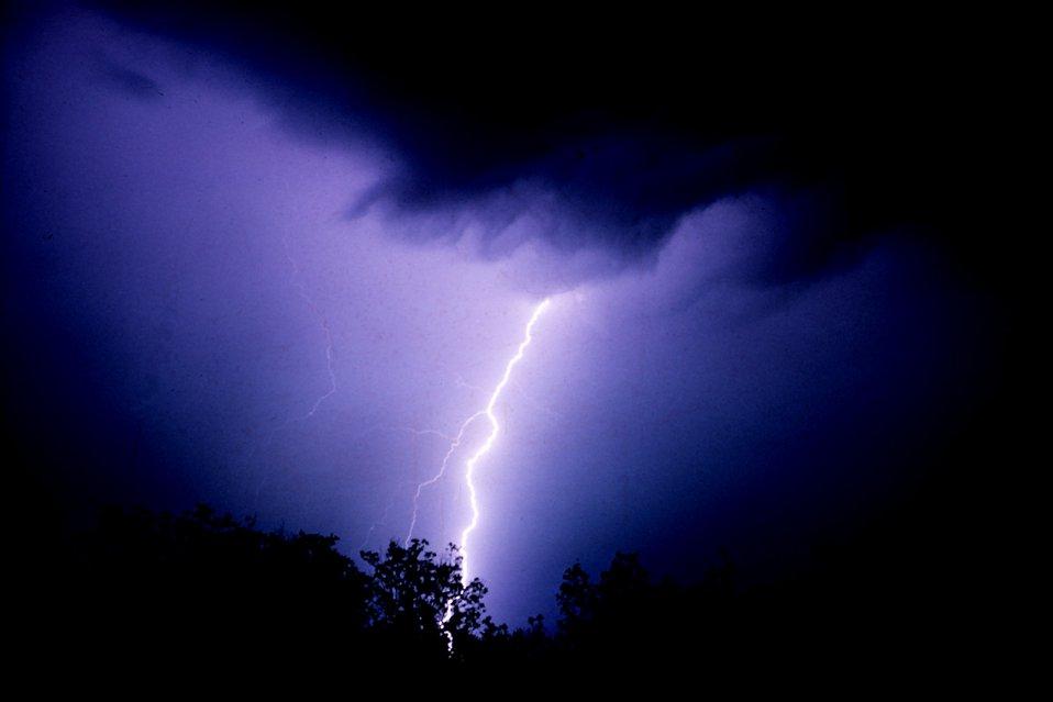 Lightning bolt during storm.