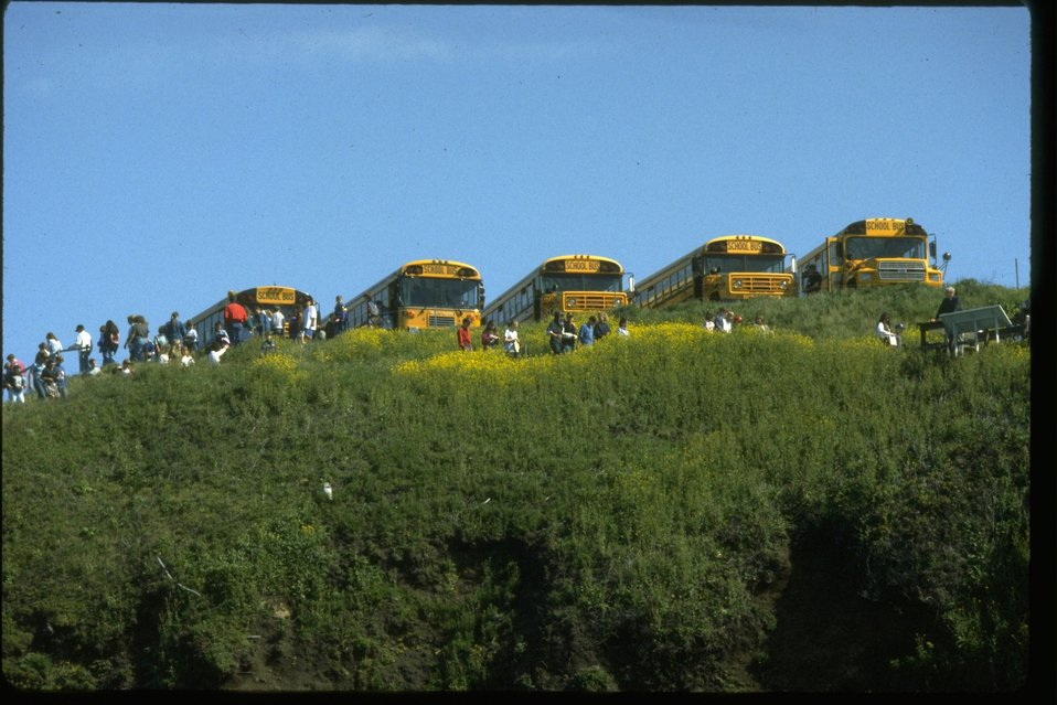 School buses above Cobble Beach tide pools in the Yaquina Head ONA.