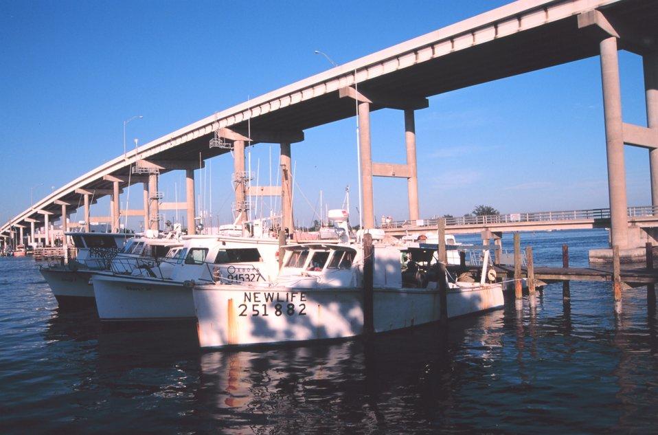 Shrimp trawlers at Snug Harbor along the Caloosahatchee River