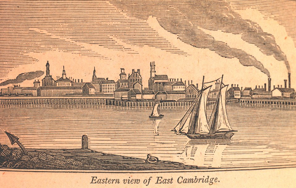 A southeastern view of East Cambridge as seen from the Warren Bridge leading into Charlestown.  Glass factories are seen on the right; railroad cars on a viaduct are seen on the left. In: Historical Collections ... of Every Town in Massachusetts.  1841.