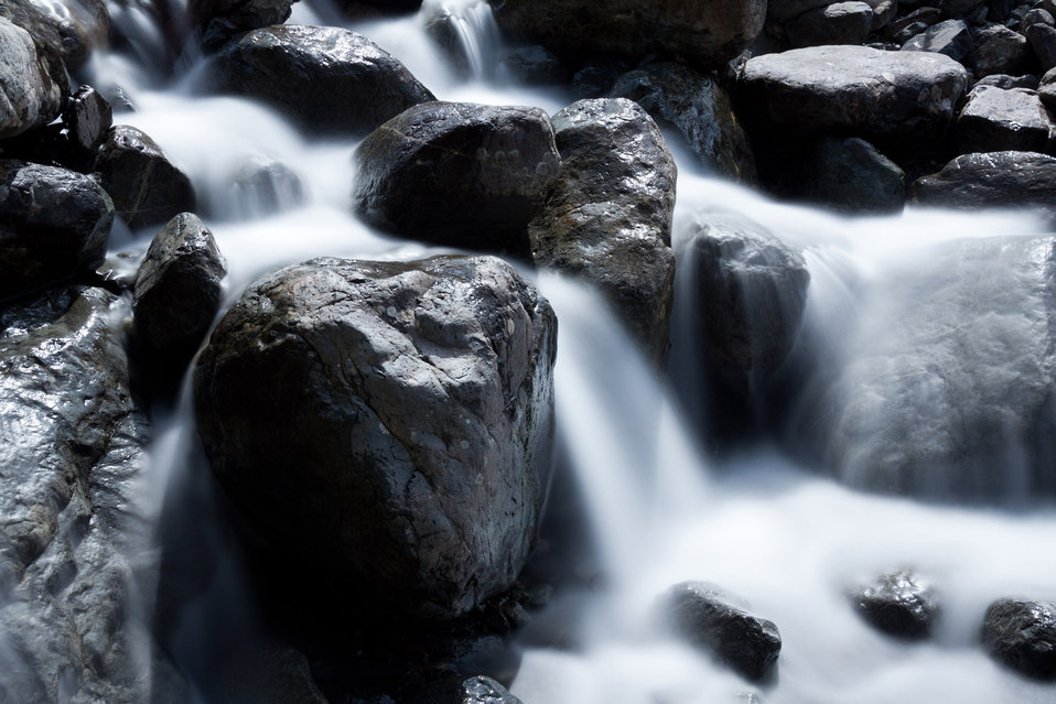 Waterfall among rocks