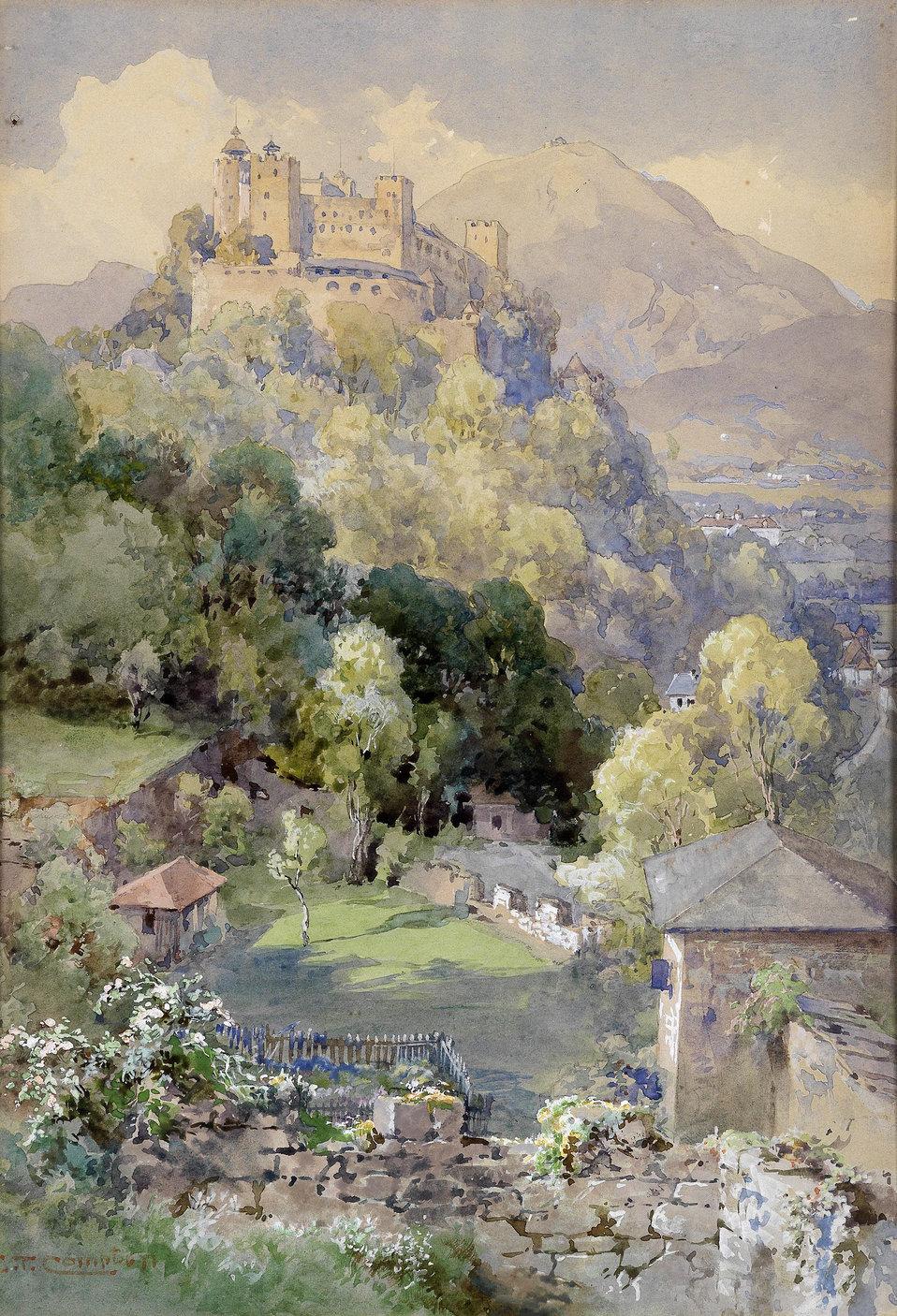 Blick auf die Festung Hohenwerfen in Salzburg, signiert E. T. Compton, Aquarell und Deckweiß auf Papier, 34,5 x 24 cm