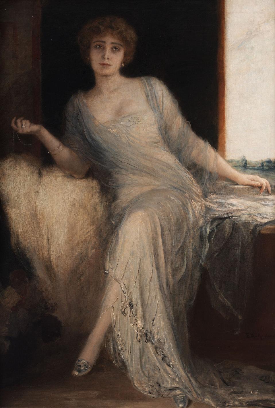 """Portrait einer sitzenden Dame. Öl auf Leinwand. 160 x 110 cm. Rechts unten signiert """"F. A. v. Kaulbach""""."""