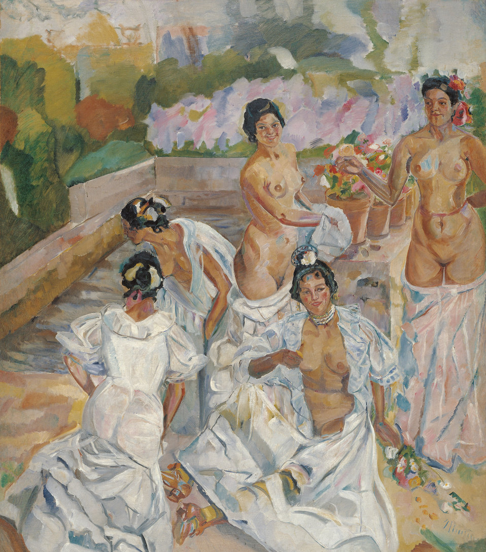 Francisco Iturrino The Bath (Seville) Oil on canvas, 200 x 174 cm, Inv. CTB.1996.50    Museo Carmen Thyssen         Native name Museo Carmen Thyssen   Location Málaga, Spain    Coordinates 36°43′17″N, 4°25′22″W      Establishe