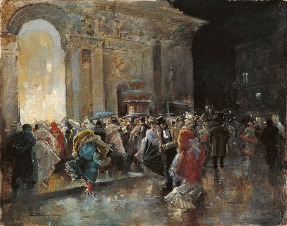 Arriving at the Theatre on a Night of a Masqued Ball Oil on panel 31 x 40 cm, Inv. CTB.1996.69    Museo Carmen Thyssen          Native name Museo Carmen Thyssen   Location Málaga, Spain    Coordinates 36° 43′ 17″ N, 4° 25′ 22″ W
