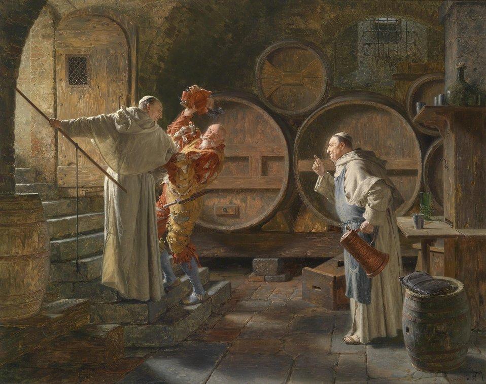 Deutsch:  Nach schwerer Sitzung, signiert, datiert Ed. Grützner 12.1892, Öl auf Leinwand, 71 x 89,5 cm