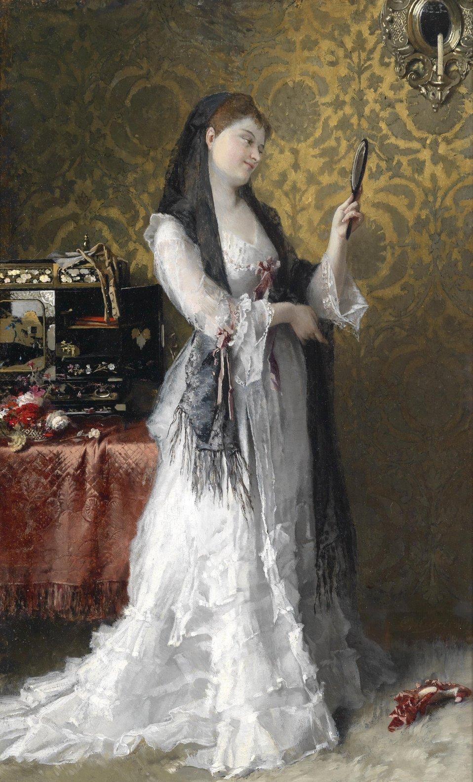 Dame im Boudoir, signiert, bezeichnet C. Kiesel Ddf., Öl auf Holz, 44 x 26,5 cmmittig rest. Sprungbildung,