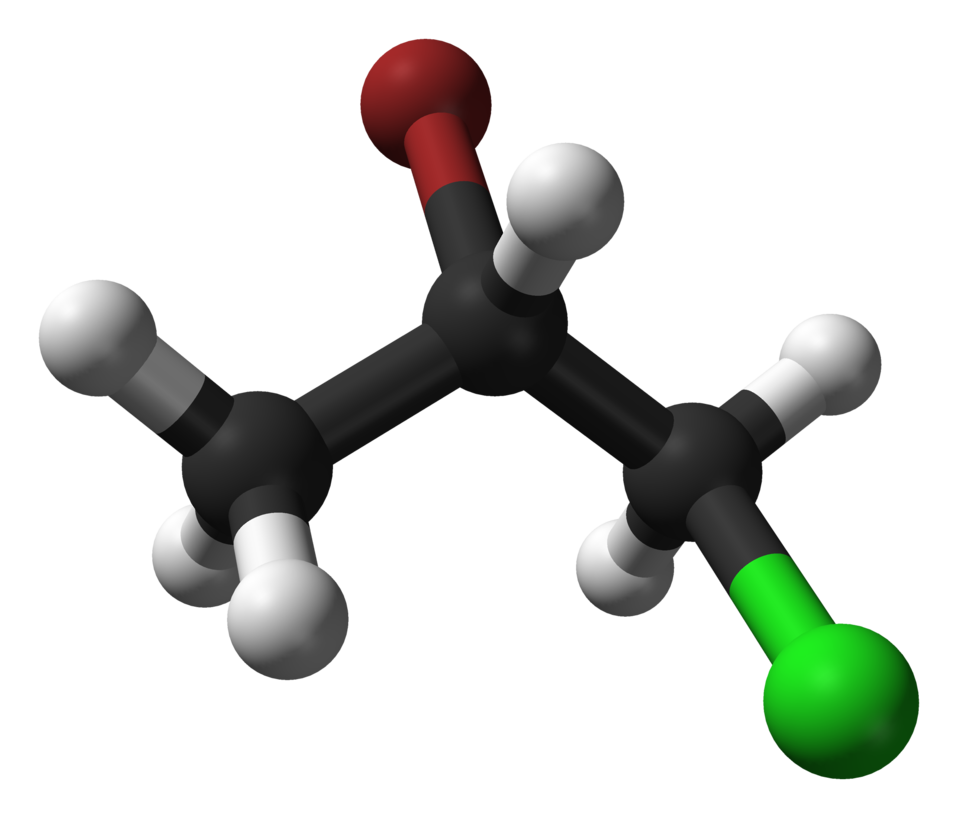 Ball-and-stick model of the anti conformer of the S enantiomer of the 2-bromo-1-chloropropane molecule, C3H6BrCl. The anti conformation predominates in the liquid state, and the molecule crystallises in this conformation, too. Colour code:  Carbon, C: gre