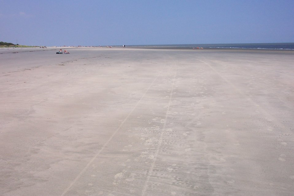 The beach on Sullivans Island near Fort Moultrie at low tide.